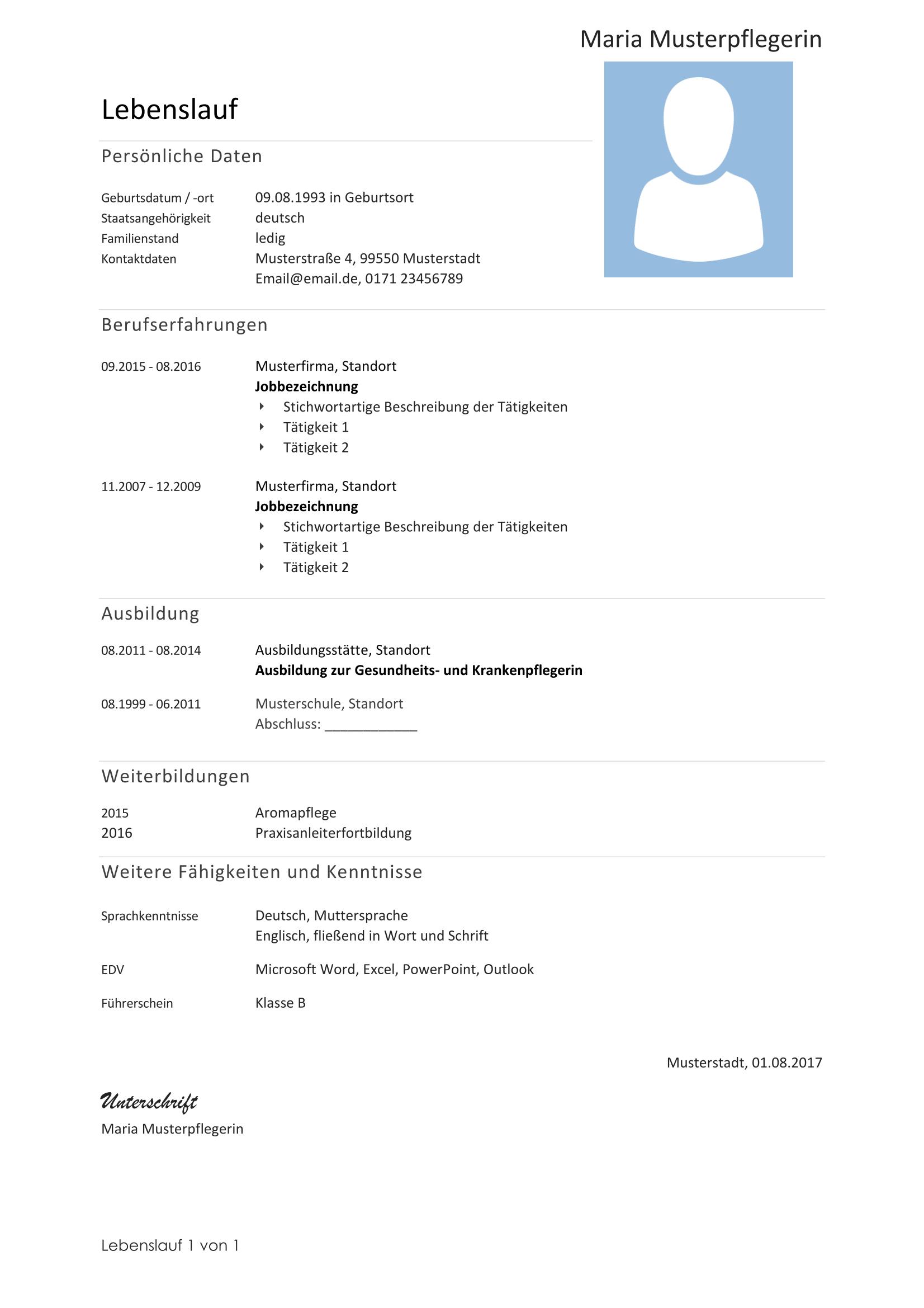 musterlebenslauf - Referenzen Lebenslauf